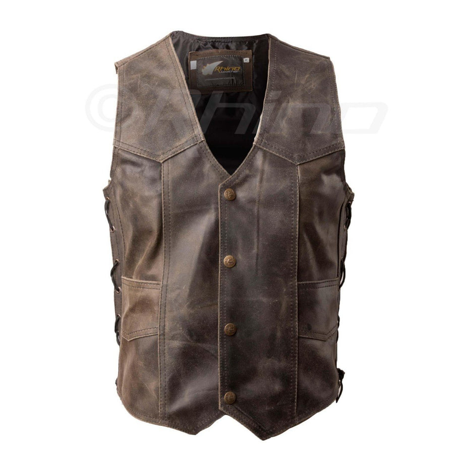DARK BROWN DISTRESSED LEATHER VEST WITH STUD BUTTONS