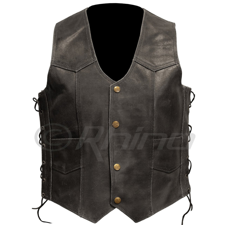 BLACK DISTRESSED LEATHER VEST WITH STUD BUTTONS