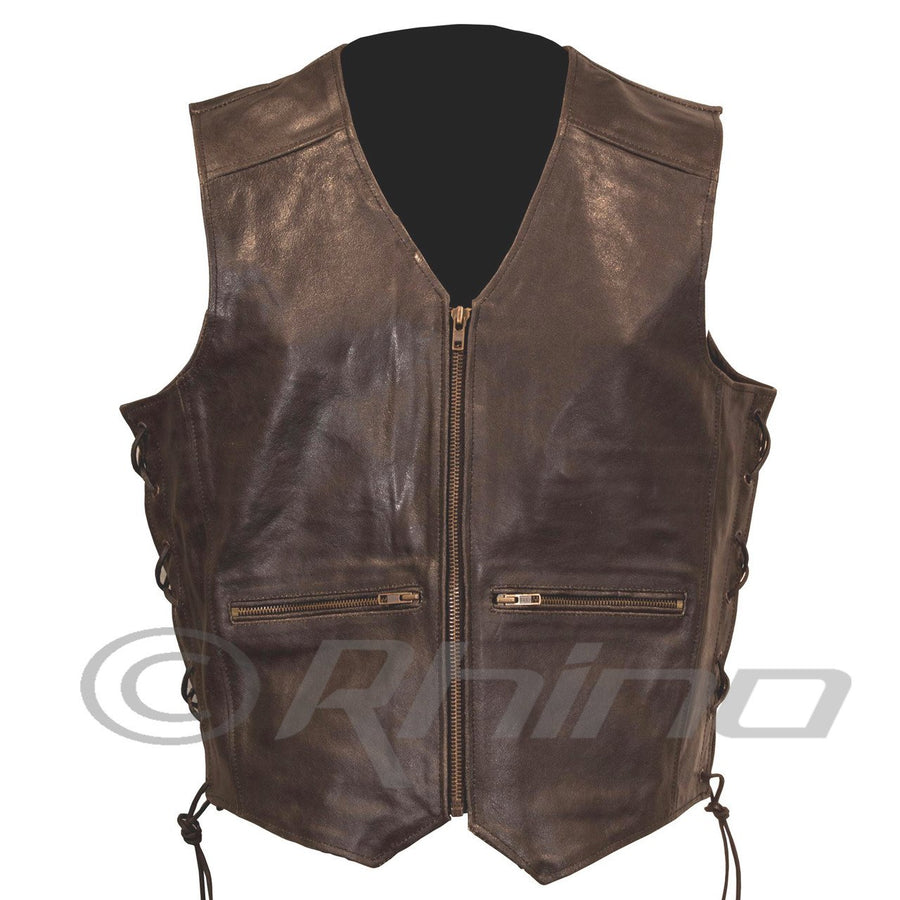 BOSTON DARK BROWN DISTRESSED LEATHER VEST WITH ZIP CLOSURE