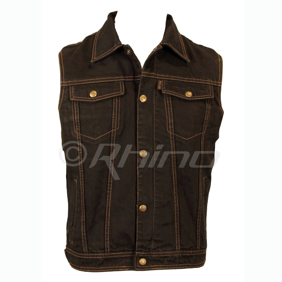 BLACK DENIM MOTORCYCLE VEST
