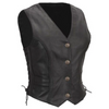 ATHENA WOMENS LEATHER VEST WITH BRAID DETAIL
