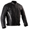 SPORTS MOTORCYCLE LEATHER JACKET W/ VENTS & ARMOUR BLACK WITH WHITE TRIM