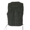 BLACK SUEDE LEATHER VEST WITH METAL CLASPS