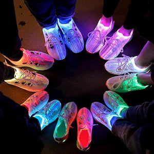 Fiber Optic Light Up Shoes for Boy Girls Rechargable Luminous Shoes for Men Women - SIKAINI