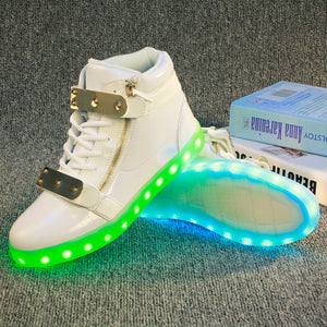 Kids LED Light Up Shoes Boys Girls High Tops Sneakers - SIKAINI