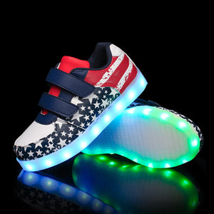 Kids Led Light Up Shoes USB Charging Boys Girls Flashing Sneakers - SIKAINI