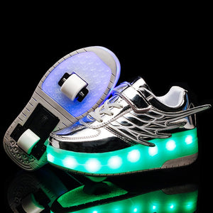Kids LED Rechargeable Kids Roller Skate Shoes with Single Wheel Shoes Sport Sneaker - SIKAINI