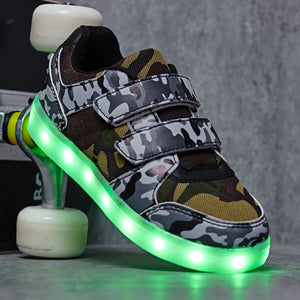 Camouflage Light Up LED Sport Shoes for Boys Girls - SIKAINI