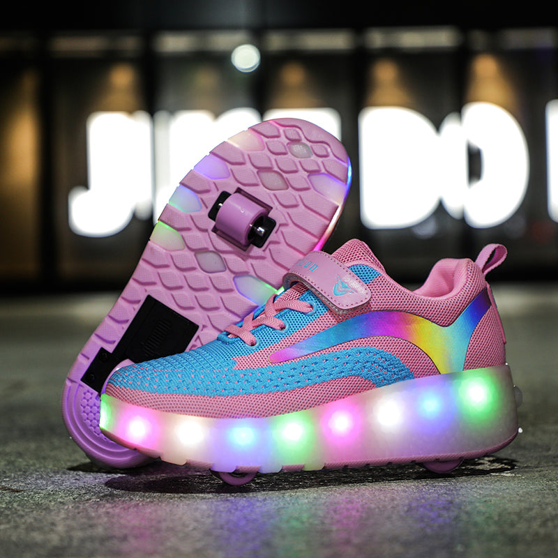 Kids Led Light Up Roller Skates Shoes Rechargeable Dual Wheels Sneakers Sport