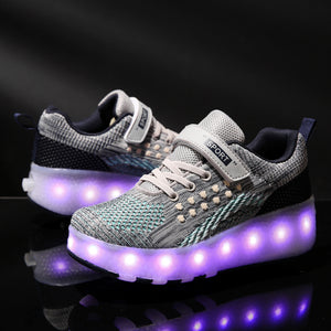 Roller Shoes Wheeled Light Up LED Skate Sneakers for Kids Skates Shoes Retractable Wheels - SIKAINI