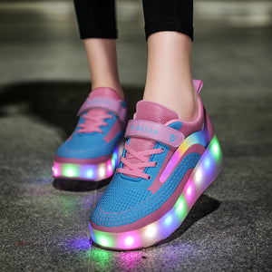 7 Colors LED Rechargeable Kids Roller Skate Shoes with Double Wheel Shoes Sport Sneaker - SIKAINI