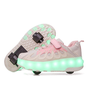 7 colors LED rechargeable twin wheels roller skates for children