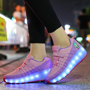 Girls Boys Single Wheels Roller Skate Shoes Luminous Shoes for Kids Outdoor LED Roller Shoes - SIKAINI