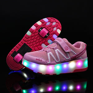 Girls Boys Double Wheels Roller Skate Shoes Luminous Shoes for Kids Outdoor LED Roller Shoes - SIKAINI