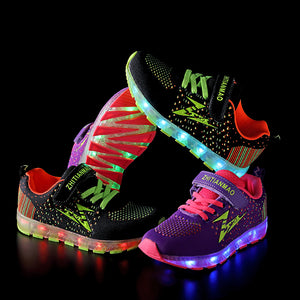 Children's LED Shoes Flashing Rechargeable Sneakers - SIKAINI