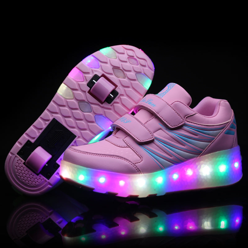 Kids LED Light up Single Double Wheel Roller Skate Shoes Girls Boys Fashion Sneakers