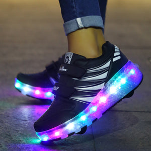 Kids Roller Skates Shoes Roller Shoes Boys Girls LED Light Wheel Shoes Roller Sneakers Shoes with Wheel - SIKAINI