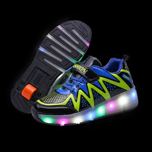 Boys Girls Skate Roller Skates Shoes LED Light Up Single Wheel Roller Shoes for Kids - SIKAINI