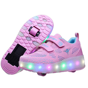 Roller Shoes Girls Boys Wheel Shoes Kids Roller Skates Shoes LED Light Up Wheel Shoes for Kids for Kids for Children - SIKAINI