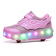 7 Colors LED Rechargeable Kids Roller Skate Shoes with Single Wheel Shoes Sport Sneaker - SIKAINI