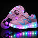 Kids Roller Skates Shoes Light Up Shoes Boys Girls Wheel Shoes Roller Sneakers Shoes with Wheels - SIKAINI