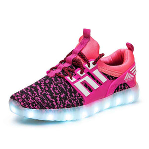 Boys Girls Breathable LED Light Up Flashing Sneakers - SIKAINI