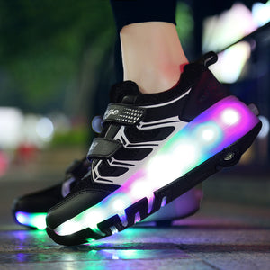 Fashion Roller Shoes LED Light Up Shoes Double Wheels Roller Skate Shoes for Boys Girls - SIKAINI