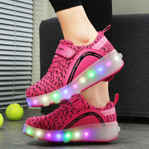 Roller Shoes Girls Boys Wheel Shoes Kids Roller Skates Shoes LED Light Up Wheel Shoes for Kids - SIKAINI
