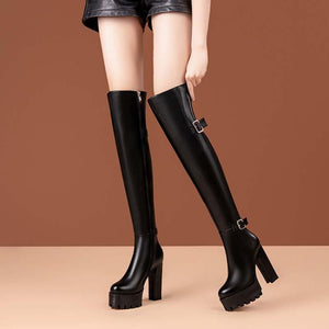 All cowhide thigh high boots long boots thick heel leather equestrian boots