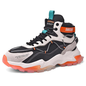 Breathable sports high top men's shoes with laces