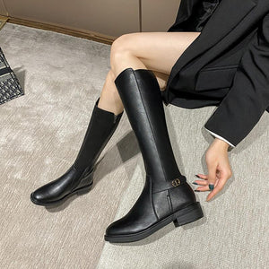 Women height boots round toe knight boots leather boots