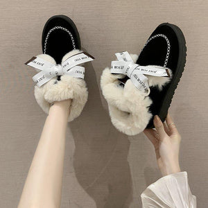 Women's snowshoes as well as velvet bow cotton shoes