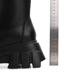 Women's overknees boots with block heel loops treaded sole