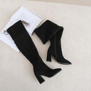Real leather thick heel full of cowhide high heeled pointed high boots with velvet