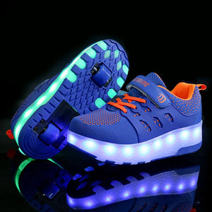 Light Up Roller Shoes Wheeled LED Skate Sneakers for Kids Skates Shoes Retractable Double Wheels - SIKAINI