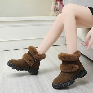 Autumn and winter side zipper snow boots women cotton shoes
