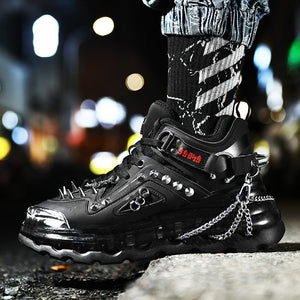 Men's High Top Martin Boots Shoes Fashion Sneakers Microfiber Leather Shoes
