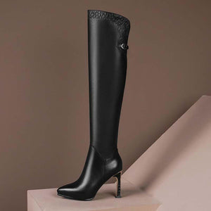 High top riding boots cowhide heeled shoes with high heels