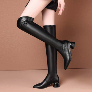 High boots leather long knight boots pointy toes over the knee boots