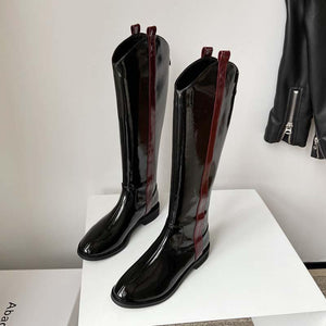 Patent leather light leather boots high boots low heel flat knight boots