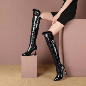Patent leather over the knee boots boots stretch boots