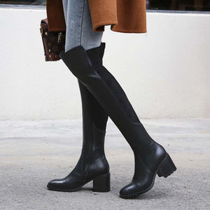 Leather thigh high boots with square toes and thick heels and stretch stovepipe retro boots