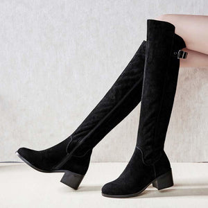 Leather knight boots thigh high boots with velvet belt buckle thick heel boots