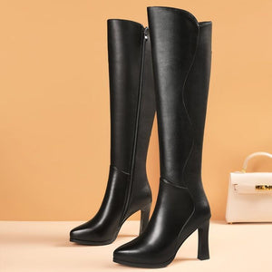 Leather boots heel pointy high boots thick heel long riding boots