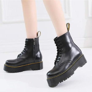 Women Black Martens Boots For Women Boots Ankle Dr Motorcycle Shoes Thick Heel Platform Botas