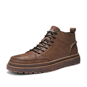 Leather shoes men Martin boots casual high up