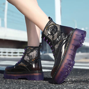 Leather Boots Women Shoes Black Martens Boots For Women Boots Ankle Dr Motorcycle Shoes Thick Heel Platform Botas