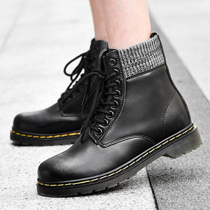 Man and woman Strong heel Women martin boots ankle shoes genuine leather boots cow muscle sole lace up platform boot ladies