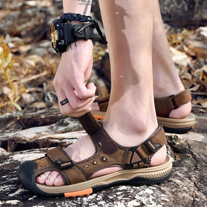 Mens Casual Shoes Outdoor Beach Sandals Comfortable Summer Sandali Cover Toe Cow Leather