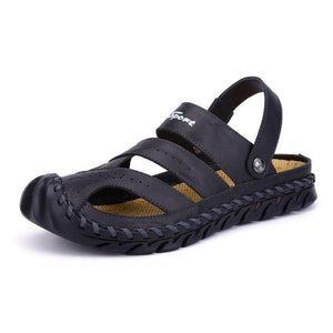 Mens Casual Beach Sandals Outdoor Platform Genuine Leather Shoes Covers Toe Summer Chaussure